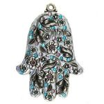 Michal Golan Silver Tone and Blue Wall Hamsa MG-GL41