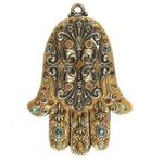 Michal Golan Tiger Eye and Abalone Shell Wall Hamsa MG-GL44