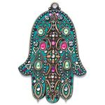 Michal Golan Teal and Pink Wall Hamsa MG-GL58