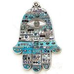 Michal Golan Abalone and Swarovski Crystal Wall Hamsa MG-GL9