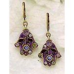 Michal Golan Purple Flower Hamsa Earrings MG-N1025E