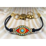 Michal Golan Blue Stone and Coral Leather Evil Eye Bracelet MG-SB2173