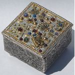 Michal Golan Abalone, Amethyst, Garnet Decorative Box  MG-X46