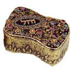 Michal Golan Swarovski Crystals Mazel Decorative Box with Flowers MG-X252