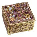 Michal Golan Amethyst, Blue Lace Agate, Pearl Decorative Box MG-X153