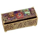 Michal Golan Abalone, African Turquoise, Blue Onyx Decorative Box MG-X199