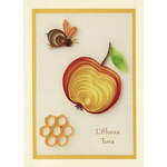 Quilled Rosh Hashana Apple, Bee & Honeycomb - Box of 10 Cards 351-box