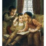 Elena Flerova - Boys Time | Jewish Art Oil Painting Gallery ELBT49723