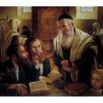 Elena Flerova - The Debate II | Jewish Art Oil Painting Gallery ELDBM49732