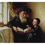Elena Flerova - First Lesson | Jewish Art Oil Painting Gallery ELEG49220