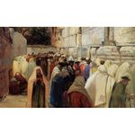 Jews at the Wailing Wall by Gustav Bauernfeind - Jewish Art Oil Painting Gallery GB603