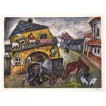 Mon Village by Issachar Ber Ryback Jewish Art Oil Painting Gallery IBR420
