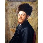 Man with Fur Hat by Isidor Kaufmann - Jewish Art Oil Painting Gallery IK629