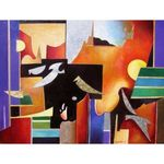 Abstract Birds | Jewish Art Oil Painting Gallery ISRAB7451049