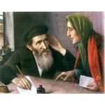 Writing a Letter by Yehuda Pen - Jewish Art Oil Painting Gallery YP824