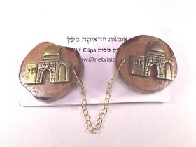 Olive wood Tallit Clips with Rachel's Tomb motive metal Judaica Israel (TC010) 174051037