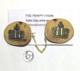Olive wood art Tallit Clips with 10 commandments bronze Judaica Israel TC22 253986347