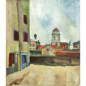 Lamp Post by Adolphe Feder - Jewish Art Oil Painting Gallery AF310