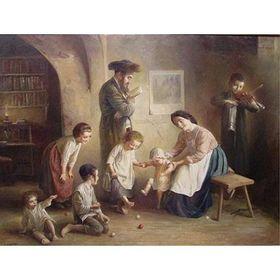 Elena Flerova - Family Time | Jewish Art Oil Painting Gallery FELE149211