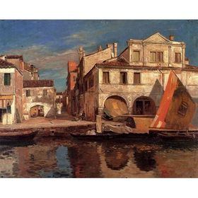 Canal Scene in Chioggia by Gustav Bauernfeind - Jewish Art Oil Painting Gallery GB602