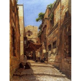 Scene of Street in Jerusalem by Gustav Bauernfeind - Jewish Art Oil Painting Gallery GB604
