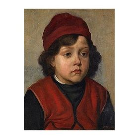 Boy Studying by Lazar Krestin   Jewish Art Oil Painting Gallery LK359