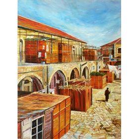Menucha Yankelevitch- Succot in Meah Shearim | Jewish Art Oil Painting Gallery MENSMS121816