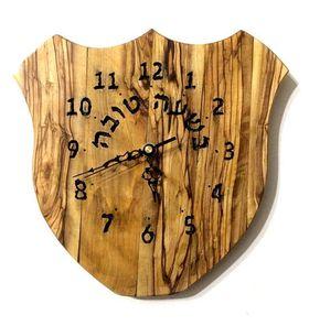 Wedding gift, Israeli Handmade Judaica art Wooden Hebrew recycled Olive wood wall clock C72 575418863