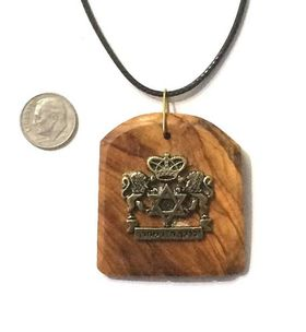 Bar / bat Mitzvah gift Olive wood pendant with Birkat Kohanim with lions and Star of David sign Israel souvenir P193 573905795