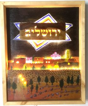 Jerusalem at night, Judaica wood art and acrylic multi-techniques painting from Israeli artist Jerusalem 466662909