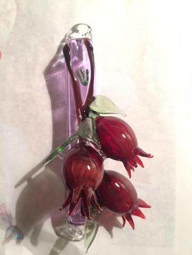 Pomegranate Glass Mezuza Case Pomegranate Glass Mezuza Case