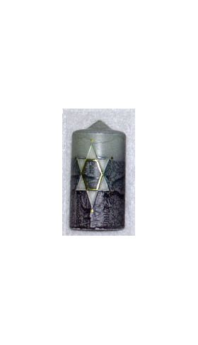 Star of David Pillar Candle from Safed, Israel, Blue, last one AP400BL