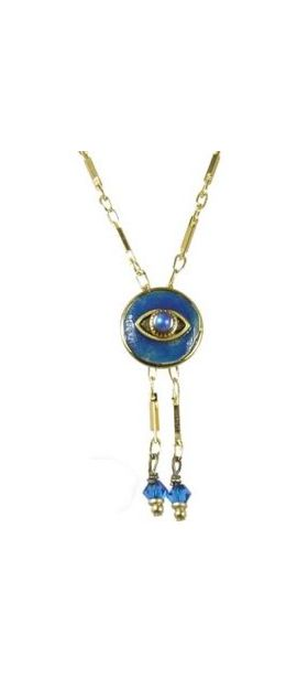 Michal Golan Sapphire and Gold Evil Eye Round Pendant Necklace With Drop  Beads